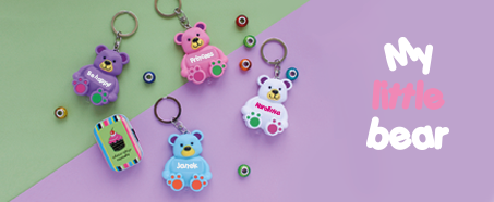 Cute bear keychains and mugs